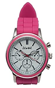 Women's Silicone Analog Watches Lima Pink and White