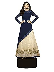 latests fashion Shilpa Shetty Blue and cream Long Anarkali suit