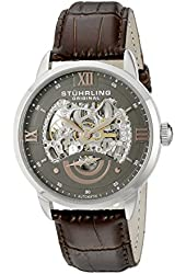 Stuhrling Original Men's 574.03 Executive II Stainless Steel Automatic Skeleton Watch with Brown Leather Band