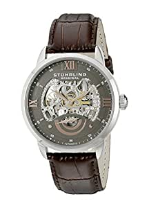 Stuhrling Original Men's 574.03 Executive II Automatic Skeleton Brown Leather Band Watch