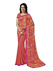 Shopeezo Daily Wear Peach Colored Printed Saree/Sari