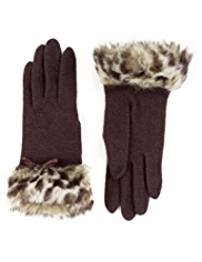 M&S Collection Wool Rich Faux Fur Gloves with Angora