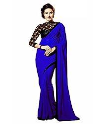 Shree Laxmi Creation Women's Georgette Saree_Blue