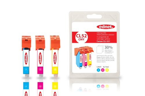 3 Tintenpatronen im Multipack für Canon ersetzt CLI-521 farbig 30% Extra