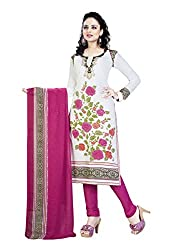 Salwar House White & Pink Unstitched Synthetic Printed Dress Material with Dupatta