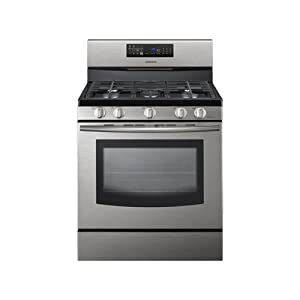 """Samsung FX510 30"""" Freestanding Gas Range with 5 Burners and Convection Oven, Stainless"""