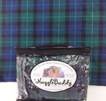 'Nugglebuddy Microwavable Moist Heat & Aromatherapy Organic Rice Pack. Cozy, Beautiful Blackwatch Plaid Flannel Fabric With Spearmint Eucalyptus Aromatherapy.