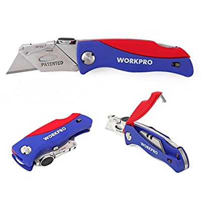 Workpro Quick-change Folding Utility Knife, ABS Handle with 5 Extra Blades Included