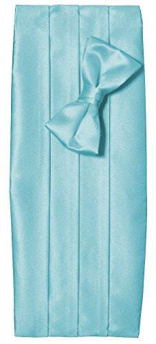 Mens Tiffany Blue Satin Tuxedo Cummerbund And Bow Tie Set