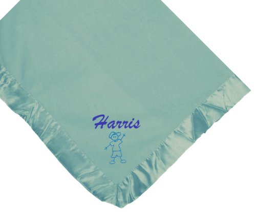 Stick Boy Blue Soft Fleece Embroidered Personalized Baby Blanket - Custom Embroidery Hot Pink Thread front-1020497