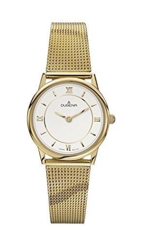 Dugena Dugena Basic 4460440 - Reloj analógico de cuarzo para mujer, correa de acero inoxidable color dorado
