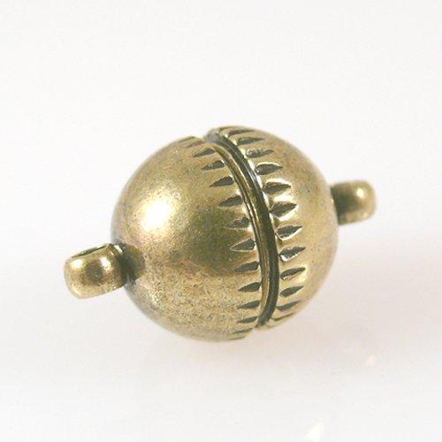 Magnetverschluß Kugel gold antik geriffelt 10mm Verschluss stark -1025