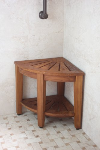 15 5 Teak Shower Bench With Shelf From The Corner Collection