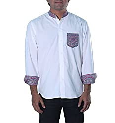 Riverbero Men's Casual Shirt (SN_DFS_206_White_42)