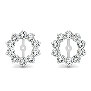 2 Carat G-H SI2 Round Diamond Solitaire Stud HOOP Jackets Halo Women Pair Earring 14K White Gold