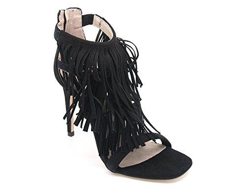 Carmens Padova sandali donna con frange, tomaia camoscio nero e suola gomma