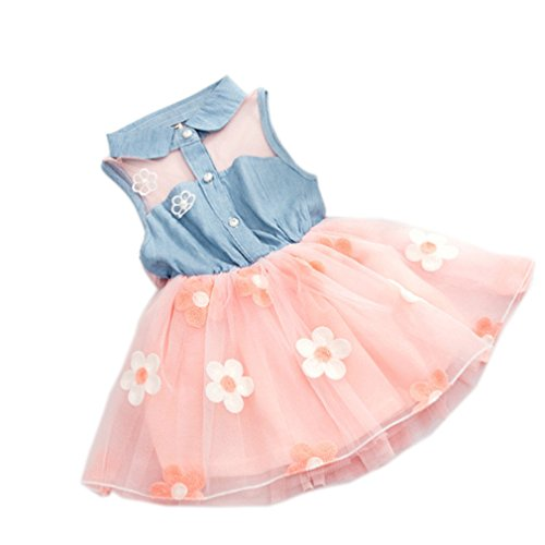 YOMIYOKA Baby Girl Dress 1 - 4 Years Flower Wedding Princess Bowknot Party Dresses (4 Years, Pink)