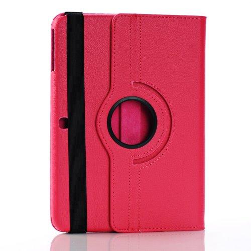 Foxnovo Samsung Galaxy Tab 3 10.1 Case - Slim Folding Cover Case For Samsung Galaxy Tab 3 10.1 Inch Gt-P5200 / Gt-P5210 Android Tablet With Free Screen Guard Stylus Pen And Cloth Set (Rosy)