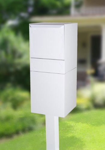 dVault Full Service Locking Mailbox, White Post/Column Mount Delivery Vault, Box and Center Mount In-Ground Post Kit, DVU0050PI-3-KIT, White