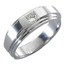 buy 14K White Gold Mens Solitaire Princess Cut (Square) Diamond Ring .30 Carats