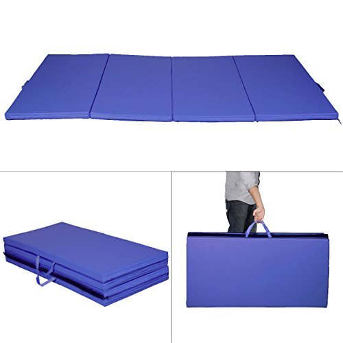 "New Blue 4'x8'x2"" Gymnastics Mat Thick Folding Panel Gym Fitness Exercise Mat"