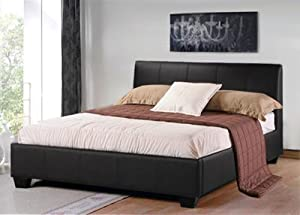BRAND NEW ASTAIRE 4FT BLACK SMALL DOUBLE FAUX LEATHER BED + MEMORY FOAM MATTRESS