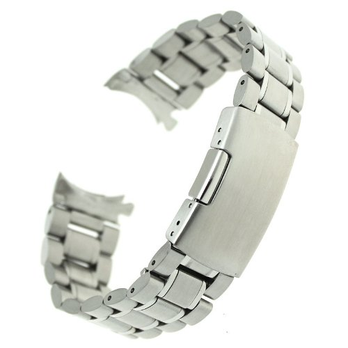 Ritche Generic 22mm Stainless Steel Bracelet Watch Band Strap Curved End Solid Links Color Silver