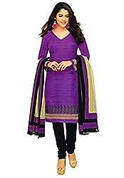 Salwar Studio Purple & Black Cotton Dress Material with Dupatta ShreeGanesh-318