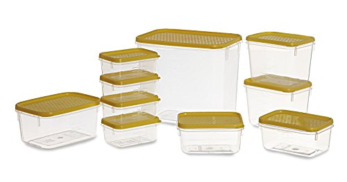 All Time Plastics Polka Container Set, 10-Pieces, Yellow