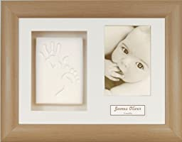 Anika-Baby BabyRice Baby Handprint Footprint Kit Soft White Clay Dough Beech Effect Box Photo Display Frame (Beige)