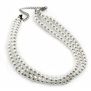 Click to buy Cheap Pearl Necklaces: South Sea Shell Pearl Three-Strand Choker Necklace from Amazon!