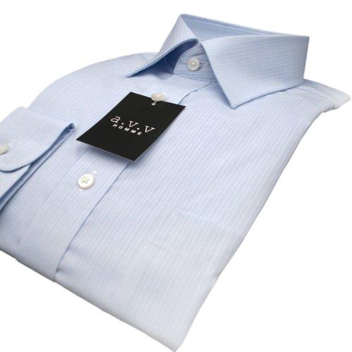 (アーヴェヴェ)(a.v.v)形態安定・ピンストライプ・ショートポイント・ドレスシャツ(ブルー)(長袖)