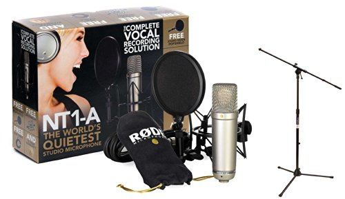 Rode Nt1A Anniversary Vocal Condenser Microphone Package With On Stage Tripod Boom Microphone Stand