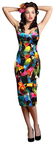 1950′s 50s Tropical birds halterneck wiggle pencil dress