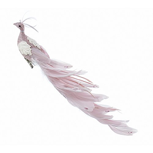 Kurt Adler 15.5 Feather Peacock Ornament - Pink