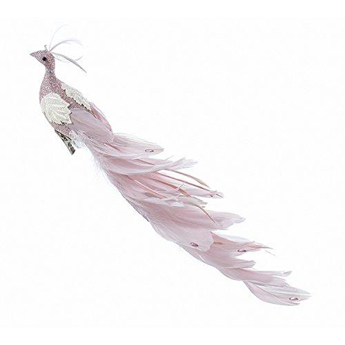 Kurt Adler 15.5 Feather Peacock Ornament - Pink
