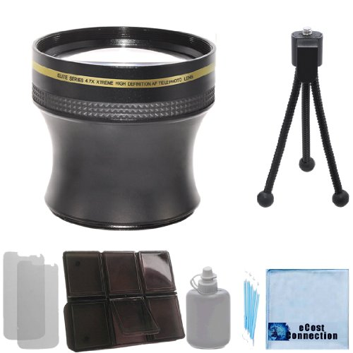 Elite Series 4.7X Xtreme High Definition Af Telephoto Lens - 52/58Mm With Deluxe Lens Accessories Kit For Nikon D3000 D3100 D3200 D5000 D5100 D5200 D7000 D7100 D7200 D600 D610 D700 D800 D90 Dslr