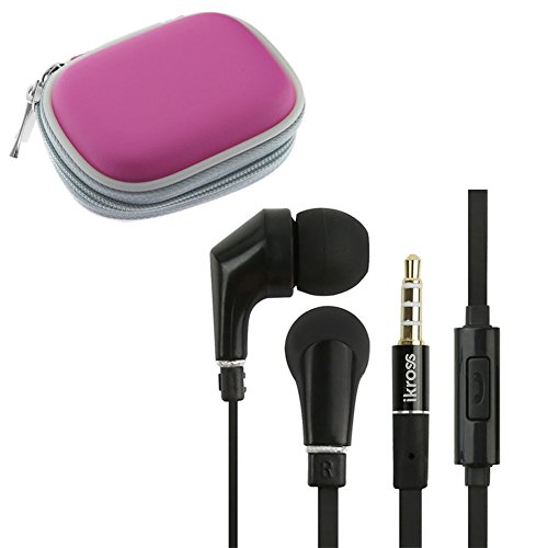 Ikross In-Ear 3.5Mm Noise-Isolation Stereo Earbuds With Microphone (Black / Black) + Hot Pink Accessories Carrying Storage Eva Case For Samsung Galaxy S5 S4, Galaxy Note 3 2; Motorola, Lg, Htc, Nokia, Cellphone Smartphone Tablet And Mp3 Player