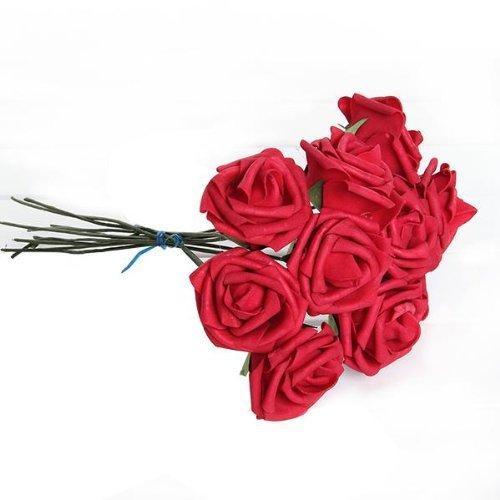 Toogoo r plante artificielle bouquet fleur rouge mousse for Plante amelys