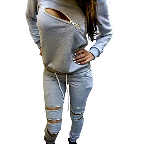 [Jubileens Sexy Women's 2 Pieces Long Sleeve Sweatshirt and Pants Tracksuit Outfits (S), Grey] (Sexy Outfit Women)