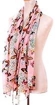 Demarkt Chic Butterflies Print Chic Elegant Scarf -Pink