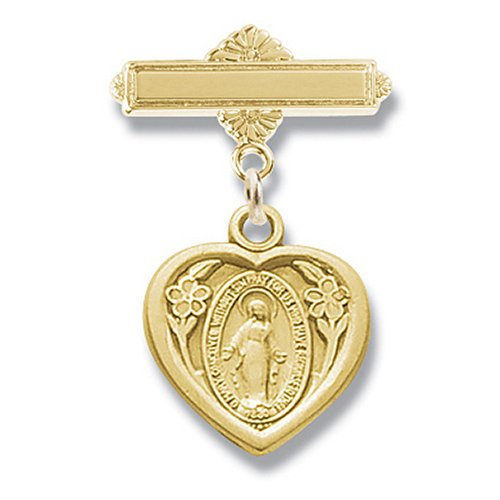 Gold over Sterling Bar Pin with Small Miraculous Heart-Gift Boxed