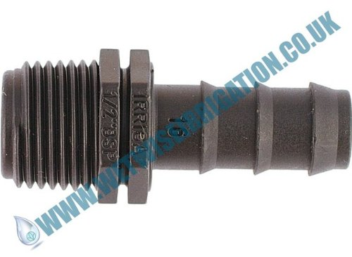 "Pipe Fitting - 13mm Barbed - 3/4"" BSP, Male Straight Connector (2 pack), Irrigation Pond Feature"