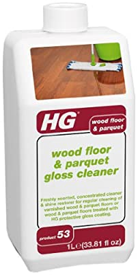 HG International Wood Floor & Parquet Gloss Cleaner - Freshly Scented Concentrated Cleaner for Varnished Wood Flooring and Parquet Flooring - 33.8 Fluid Ounces