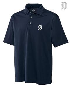 Detroit Tigers Mens DryTec Medina Tonal Stripe Polo Shirt Navy Blue by Cutter & Buck