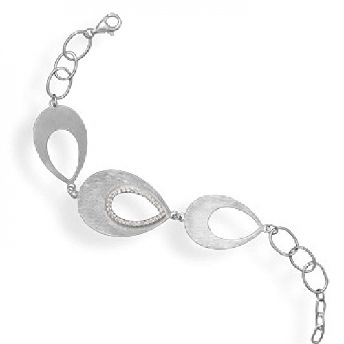 7 Inch + .5 Inch Rhodium Plated Pear Shape Link Bracelet