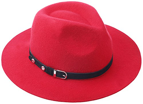 [Felt Fedoras Brim Cowboy Hat Church Party Top Hat for Women and Men] (Red Felt Cowboy Hat With Band)