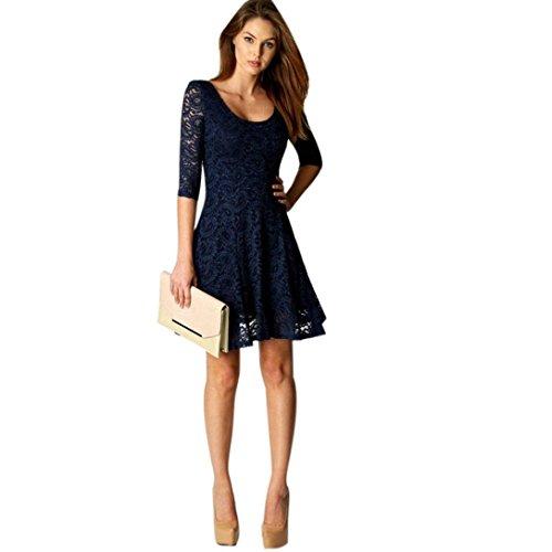 Reasoncool Donna Lace mezza manica del partito di sera di modo breve del mini vestito (XL, Blu)