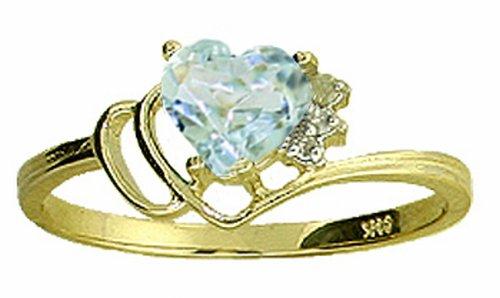 Genuine Heart Aquamarine & Diamond 14k Gold Promise Ring
