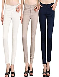 NGT Womens Formal White, Beige And Navy Blue Trouser In Special Quality.